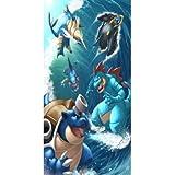 chinawh Serviette de Plage Pokemon Grand Trois Serviettes de Bain en Microfibre séchage personnalisé Serviettes de Bain de Voyage 70x140 cm