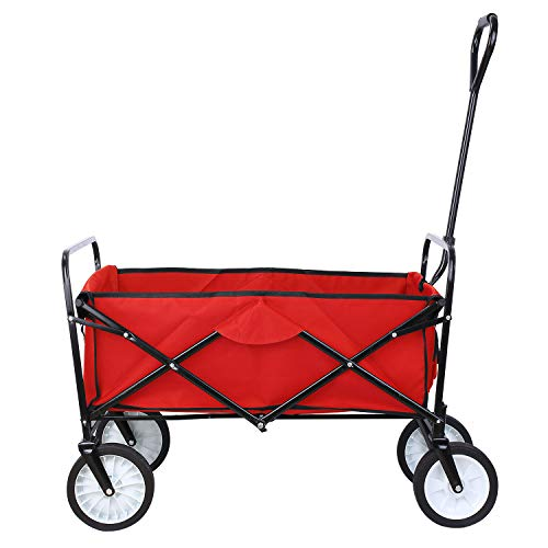 """Collapsible Outdoor Utility Wagon, Heavy Duty Folding Garden Portable Hand Cart, with 8"""" Rubber Wheels and Drink Holder, Suit for Shopping and Park Picnic, Beach Trip and Camping (Red)"""