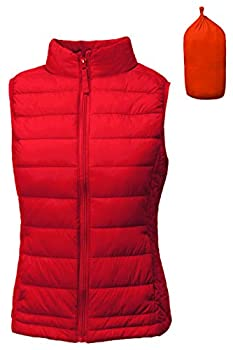 TL Women s Padded Lightweight Packable Puffer Vest Stand Collar Zip Up Jacket 001_RED S