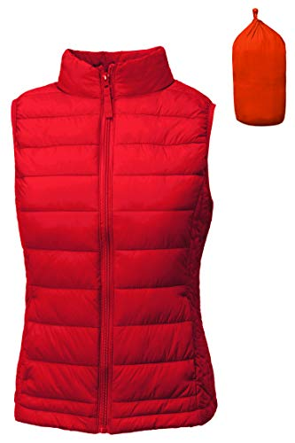 TOP LEGGING TL Women's Padded Lightweight Packable Puffer Vest Stand Collar Zip Up Jacket 001_RED S