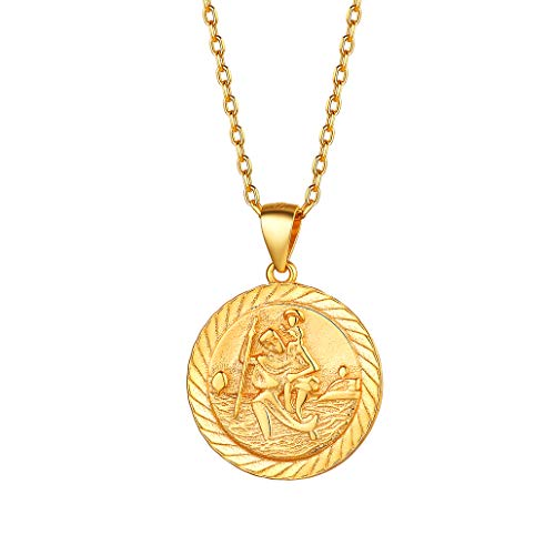 Silvora Gold St Christopher Necklace for Women 18K Real Gold Jewelry Drivers Amulet Saint Christopher Pendant Neck Chains for Male Golden