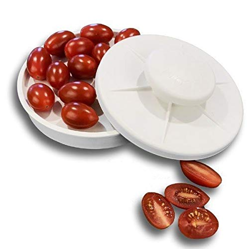 Slicer, food knife,tomatoes,grapes, olives,chicken,shrimp,strawberries,eggs,fruit banana cheese slices kitchen gadgets.Non-slip gadget holder for easy slicing of all different foods(White)