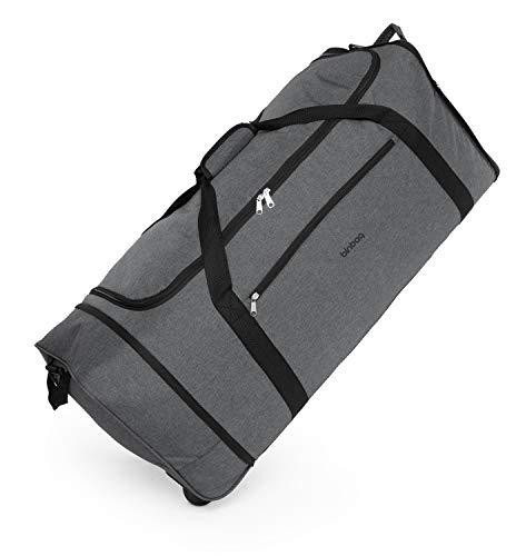 blnbag M4 – Rollenreisetasche Weichgepäck Tasche, leichte Reisetasche faltbar mit Rollen, Rollentasche, 90 Liter, Dunkelgrau
