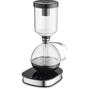 Gourmia GCM3500 Digital Siphon Artisanal Coffee Machine - Pedestal Display Touch LCD Control With Automatic & Manual Brewing Functions, Bold Flavor