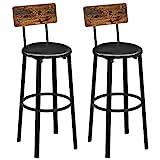 VASAGLE Barhocker, 2er Set, Barstühle, 39 x 39 x 100 cm, mit Fußstütze, PU-Bezug, einfacher Aufbau, für Esszimmer, Küche, Theke, Bar, vintagebraun-schwarz LBC069B81