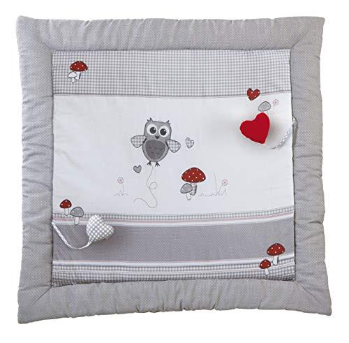 roba Spiel- & Krabbeldecke 'Adam & Eule', Baby's gepolsterte Spielunterlage / Laufgittereinlage 100 x 100cm, 100% Baumwolle, inkl. Baby-Spielzeug, mehrfarbig