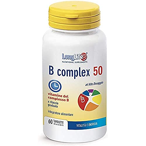 B COMPLEX 50t/r LongLife   Integratore ad alto dosaggio e rilascio graduale   60 tav. divisibili   Metabolismo energetico   Difese Immunitarie   Doping Free