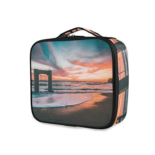Stockage Maquillage Sac Trousse De Toilette Bourse Sunset Beach Paysage Portable Outils De Voyage Cosmétique Train Case