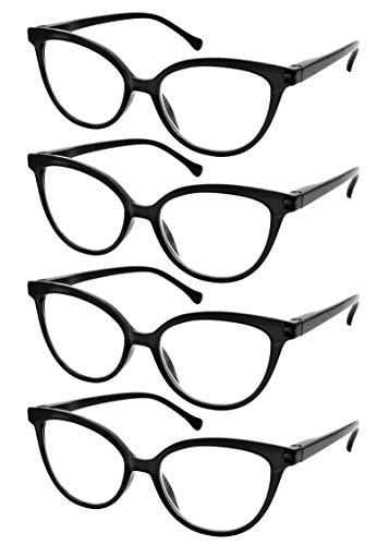 TBOC Gafas de Lectura Presbicia Vista Cansada - [Pack 4 Unidades] Graduadas +2.00 Dioptrías Montura de Pasta [Negra] de Diseño Moda para Mujer Lentes Aumento Leer Ver de Cerca Bisagra Muelle