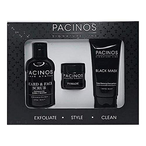 Pacinos 3-in-1 Set, Beard and Face Scrub, 1oz. Pomade with Firm Flexible Hold, Medium Shine, Deep Cleansing Charcoal Mask, Exfoliate, Style, Clean, 100% Natural and Pure Ingredients