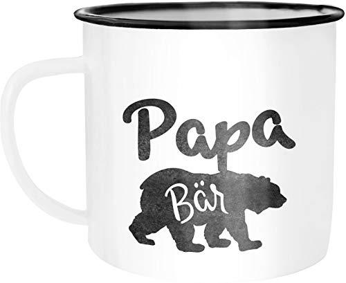 Moonworks Emaille Tasse Becher Papa Bär Kaffeetasse Geschenk-Tasse weiß-schwarz unisize