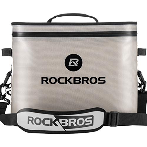 ROCKBROS Soft Cooler 30 Can Insulated Leak Proof Soft Pack Coolers Waterproof Soft Sided Cooler Bag for Camping, Fishing, Road Beach Trip, Golf, Picnics White Grey