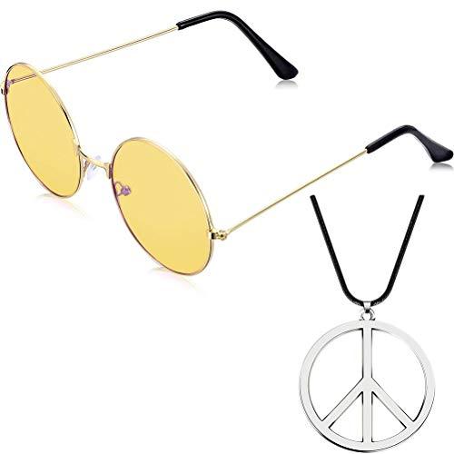 Comtervi Gafas de Sol, Redondas, Retro, Vintage, Lentes polarizadas, Estructura de Metal, Gafas Redondas, Gafas Hippi, Gafas de Exterior con símbolo de la Paz, Cadena para Mujeres y Hombres (Amarillo)