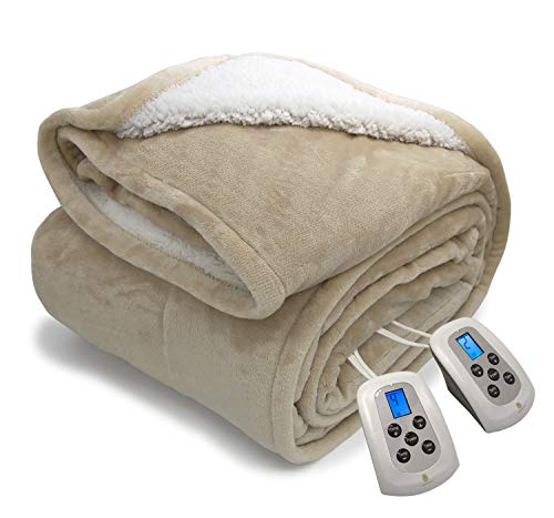 Electric Blanket MicroPlush Sherpa and Reversible Flannel Washable Heated Comfortable Blanket with 10 Heat Settings/Safety 10 Hours Auto-Off Controllers Queen Size Bed Blanket (84x90'' Linen)