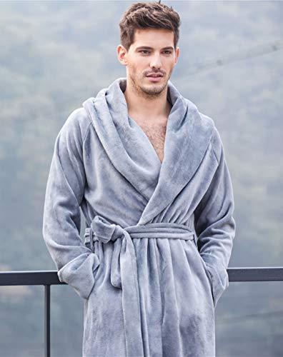 KTUCN Frauen und Männer Paare Robe Winter Langer Bademantel, Pyjama Nachthemd Nachtwäsche Herren Soft Robe, Dunkelgrau, XL