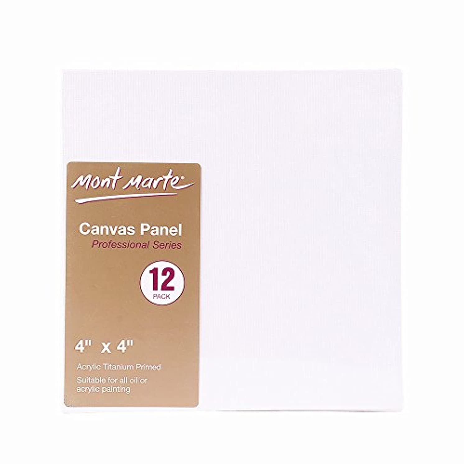Mont Marte 4x4-Inch Canvas Panel (Pack of 12)