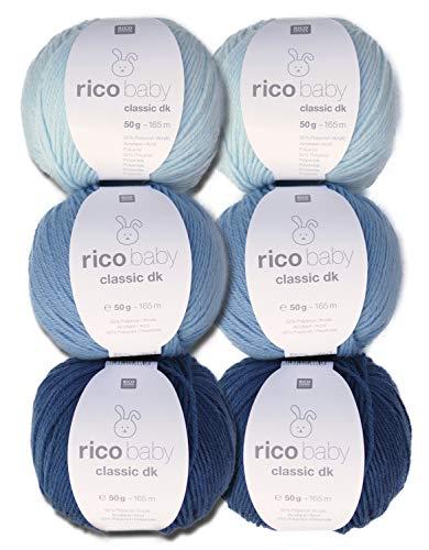 Woll-Set Babywolle Rico Baby Classic 6x50g #6, weiche Wolle zum Stricken und Häkeln