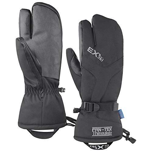 EXski Winter Handschuhe Warm Wasserdicht Skihandschuhe 3 Finger Fäustlinge Herren Damen Snowboard Schneemobil, L