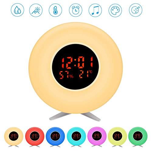 Pulchrarm Luz Despertador Infantil Luz Nocturna con Simulador de Amanecer, Temperatura, Humedad, Luz de 7 Colores, 5 Sonidos Naturales, 10 Niveles de Brillo, Lámpara de Mesa para Decoración, Regalo