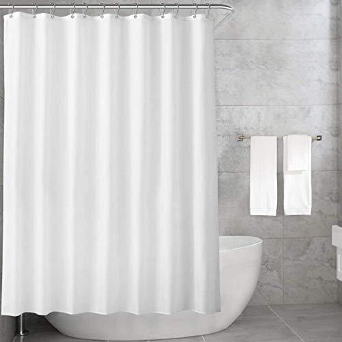 Carttiya Duschvorhänge Textil, Anti-Schimmel, Wasserdichter, Waschbar Stoff Polyester Badewanne Vorhang, mit 12 Duschvorhängeringen, 180x180cm, Weiß