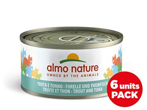 Almo Nature Megapack Trota & Tonno - Cibo umido naturale per gatti adulti (6 x 70gr-lattina)