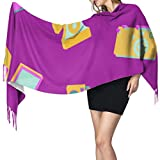 Moda creativa lindo electrodoméstico mujeres bufanda con flecos suave abrigo chal chales y abrigos cálido 77x27 pulgadas / 196x68cm grande suave pashmina extra cálido