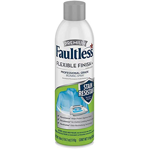 Faultless Premium Flexible Finish + Stain Resistance Professional Grade Ironing Spray Starch for clothes –Ironing Laundry Aid 18oz Can (Pack of 12)