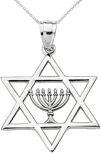 Joyería judía de plata de ley 925 con estrella de David con collar con colgante de menorá
