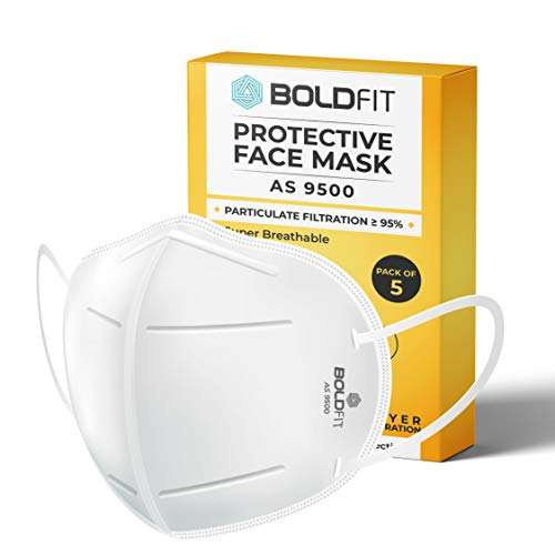 Boldfit N95 mask for face (Pack of 5) Anti Pollution, protective. Third...
