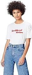 Marca Amazon - find. Camiseta con Mensaje con Cuello Redondo Mujer, Blanco (White), 38, Label: S