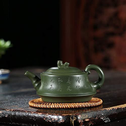 L.L.QYL Tetera Mano-Verde Tetera de Arcilla Kung Fu Juego de té de la Tetera Soporte Inicio (Color : Green mud)