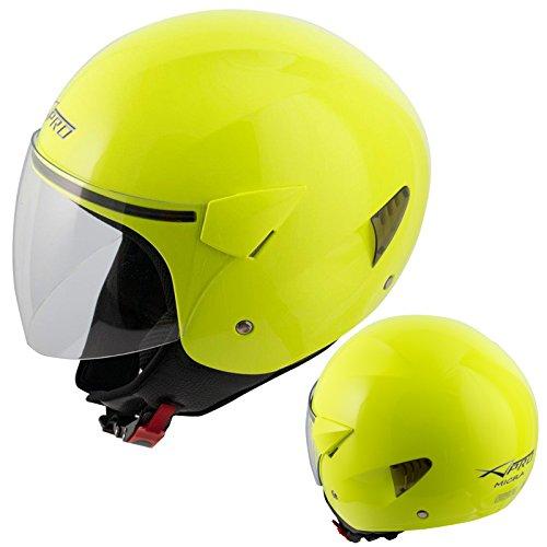 A-Pro Open Face Jet Casco para Moto, Moto, Scooter, antiarañazos, Visor, Fluo L