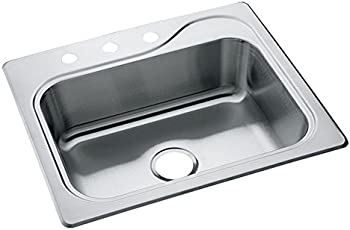STERLING 11403-3-NA Southhaven 25-inch by 22-inch Top-mount Single Bowl Kitchen Sink, Stainless Steel
