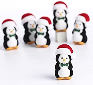 Factory Direct Craft® Package of 12 Flocked Miniature Penguins in Santa Hats for Embellishing, Crafting, and Decorating