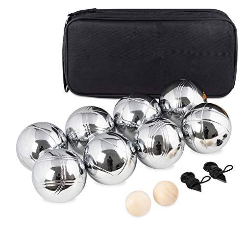 Boccia Kugeln,Boule Kugeln mit 8 Metall,2 Holz-Kugel, 2 Abstandsmesser &Luxuriöser Tragetasche,Petanque für Outdoor-Spiel für den Garten oder den Strand Spielzeug