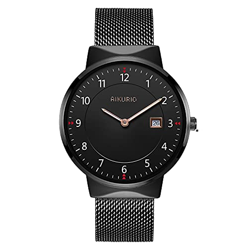 AIKURIO Unisex Armbanduhr Analog Quarz Wasserdicht mit Edelstahlarmband Kalender AKR010