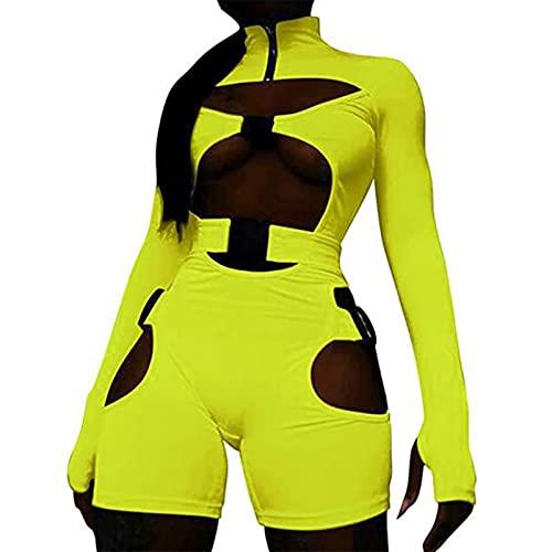 Mono corto para mujer, sexy, con hebilla, cuello alto, manga larga, hueco de una pieza, mameluco Y2K E-Girls Clubwear, Amarillo Fluorescente, M