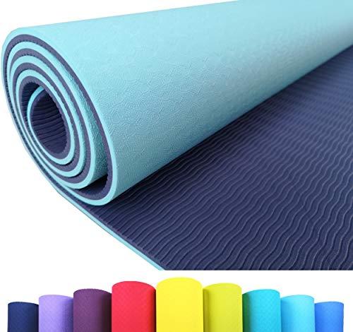 Iseaa Esterilla para Yoga Pilates Fitness Gimnasia TPE - Tapete de Yoga - Yoga Mat Esterilla Antideslizante y Ligero con Grosor de 6mm, tamaño 183cm x 61cm - Turquesa Claro/Azul Marino