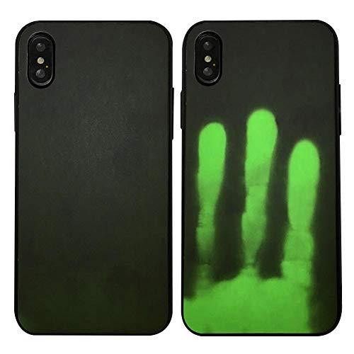 LLKJT Thermal Heat Induction Funda iPhone X/XS/XR/XSMAX Mágico Moda Cambio de Color Sensor Térmico Fluorescente Calor Térmico Inducción Heat Sensible Matte Phone Case Cover,Blacktogreen,XS