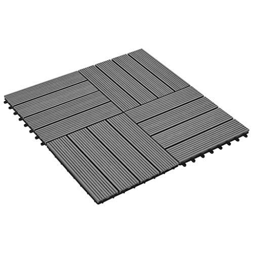 SOULONG Lot de 11 dalles de sol emboîtables pour jardin, terrasse, terrasse, balcon, 30 x 30 cm