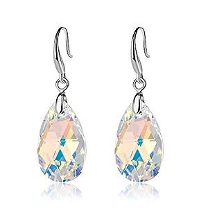 dfaff862becb3b $26 EVEVIC Swarovski Crystal Teardrop Dangle Hook Earrings for Women Girls  14K Gold Plated Hypoallergenic…
