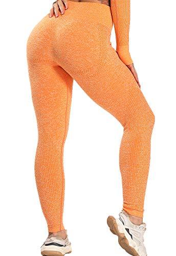 FITTOO Leggings Sin Costuras Mallas Mujer Pantalon Deportivo Alta Cintura Yoga Elásticoss #1 Naranja L