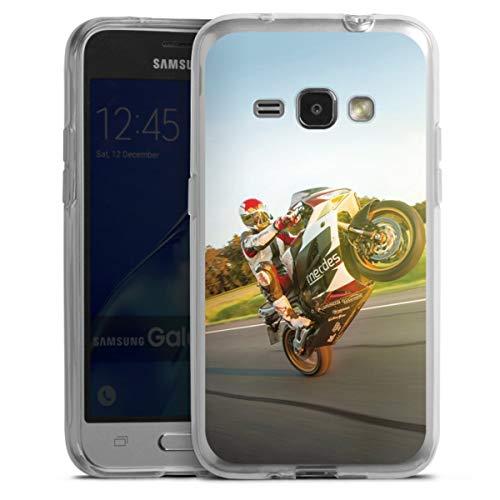 DeinDesign Silikon Hülle kompatibel mit Samsung Galaxy J1 (2016) Hülle transparent Handyhülle Motorrad YouTube