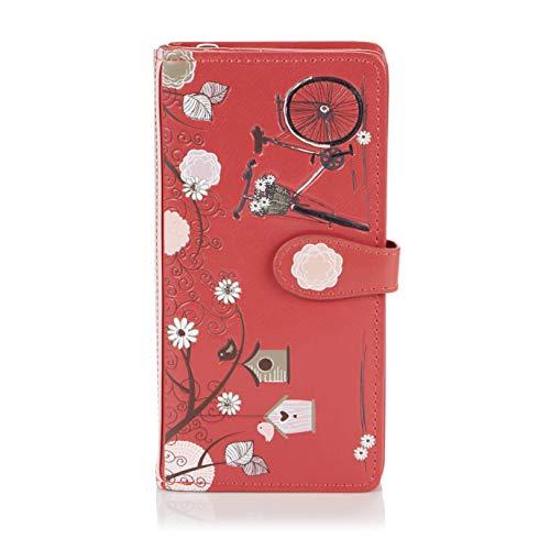 Shagwear ® Portemonnaie Geldbörse Damen Geldbeutel Mädchen Bifold Mehrfarbig Portmonee Designs: (Retro Postkarte Rot/Vintage Post Card)