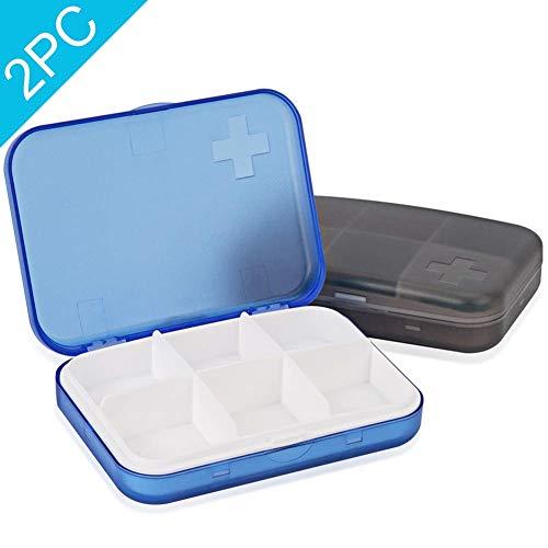 2 STKS Draagbare Travel Pill Organizer Case voor Pocket of portemonnee Leuke Kleine Dagelijkse Hoge Kwaliteit Pil Doos Blauw+Grijs (6 vakken)