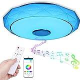 Led Deckenleuchte mit Bluetooth Lautsprecher und Fernbedienung, 48W Dimmbar Led Deckenlampe Farbwechsel Musik RGB mit APP-Steuerung, 3000-6500K für Küche Kinderzimmer Wohnzimmer, Flur, Rund 40cm