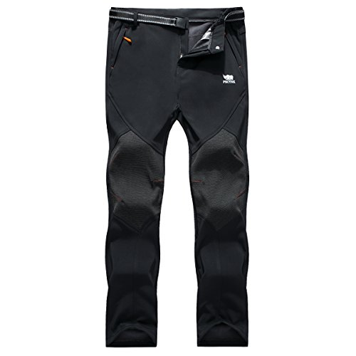 PECTNK Mens Outdoor Soft Shell Pants Polar Fleece Transparent Waterproof Membrane 815 Black XX-Large