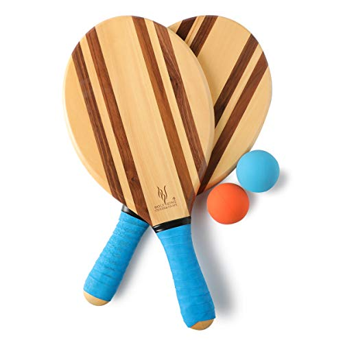 HOLYKING Wooden Beach Striped Paddle Ball Set - Tennis Racket Outdoor Sport Games