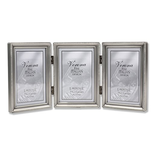 Lawrence Frames 11535T Antique Pewter Hinged Triple Picture Frame, Beaded Edge Design, 3x5 inch