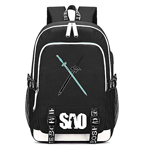 ZZGOO-LL Cremallera Doble White SA0 Sword Art Online Kirito/Yuuki Asuna Anime Cosplay Bookbag College Bag Mochila Escolar USB E-Black